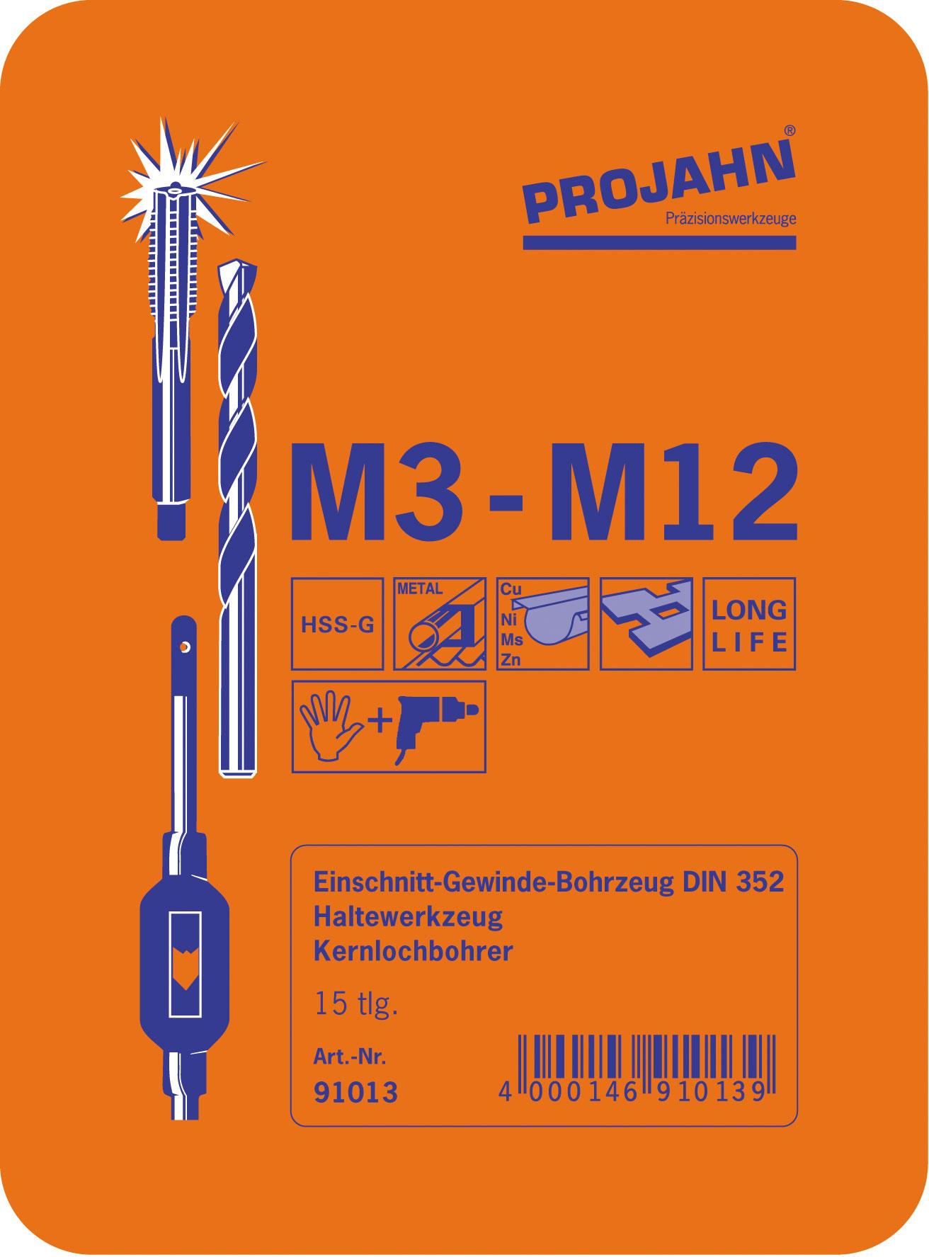 M3 bis M12 Windeisen Kernbohrer Bohrer Gewinde Einschnitt Satz HSSG 15 tlg